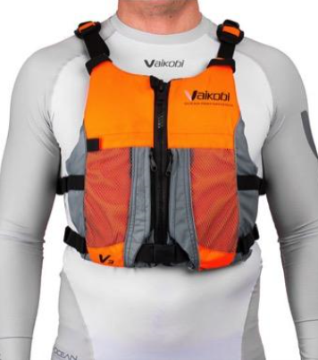 NEW - Vaikobi V3 Ocean Racing PFD, Fluro Orange-Grey