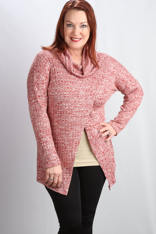 Plus Red Ribbed Cross Front Cowl Neck Top