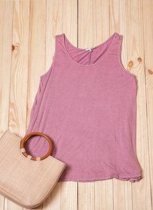 Mauve Solid Sleeveless Blouse