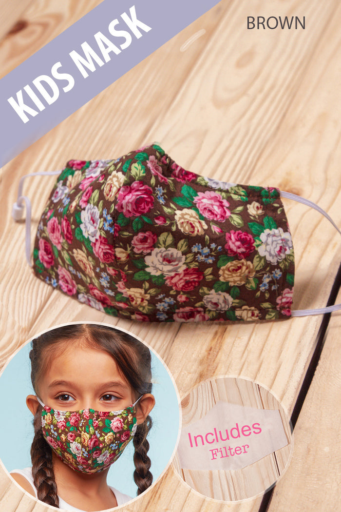 Brown Floral COTTON kids Mask with Filter
