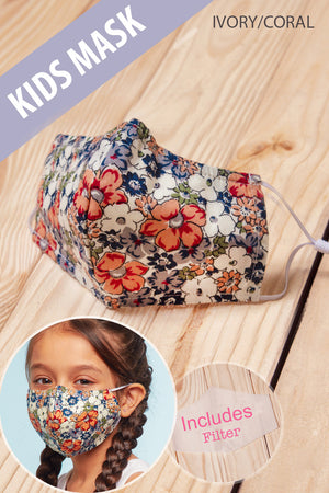 Ivory Coral Floral COTTON kids Mask with Filter