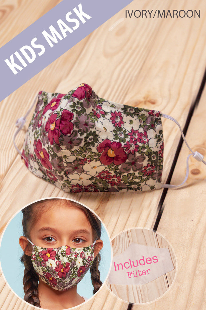 Maroon Floral COTTON kids Mask with Filter
