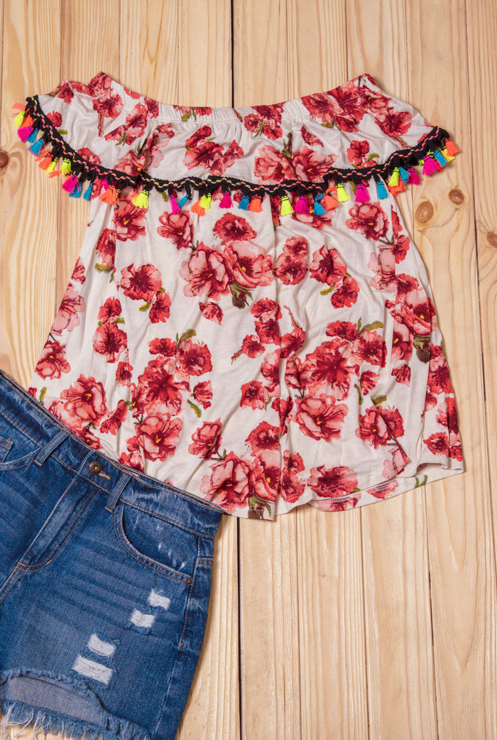 Ivory Tassel Floral Off Shoulder Blouse
