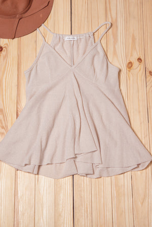 Taupe Solid Sleeveless Blouse