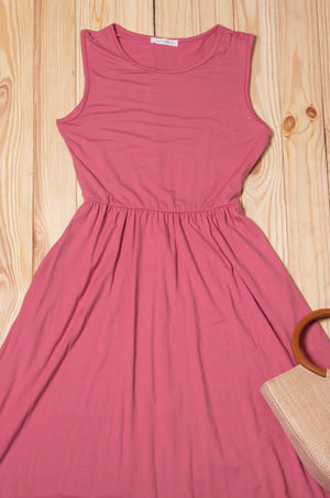 Dark Pink Solid Sleeveless Dress