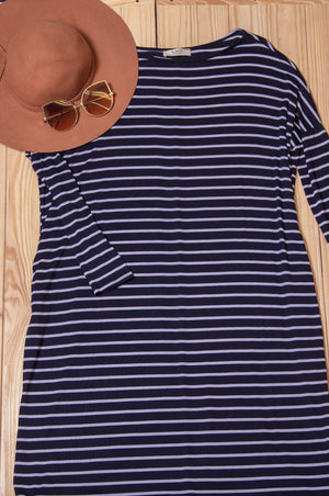 Navy Stripe Maxi Dress (5 pcs)