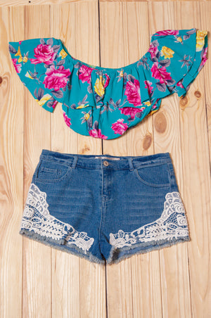Blue Floral Crop Top