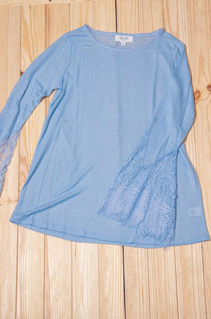 Light Blue Lace Sleeve Blouse