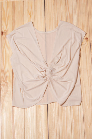 Taupe Solid Back Design Blouse