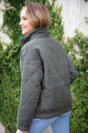 Olive Zip down Puffy Pocketed Coat