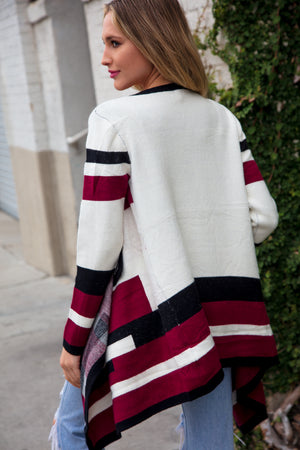 Off Ivory Stripe Design Open Cardigan