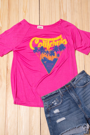 Fuchsia Print California Blouse