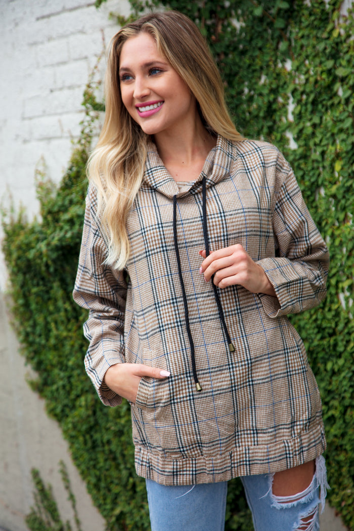 Taupe Plaid Cowl Neck Pocketed Sweater