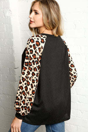 Black & Taupe Ribbed Animal Print Raglan Bubble Sleeve Blouse