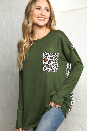 Plus Olive Animal Print Pocket Slouchy Blouse