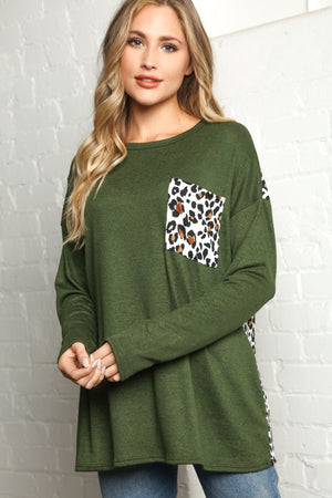 Olive Animal Print Pocket Slouchy Blouse