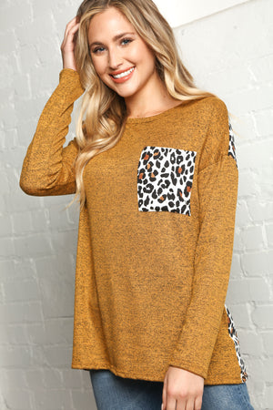 Plus Butterscotch Animal Print Pocket Slouchy Blouse