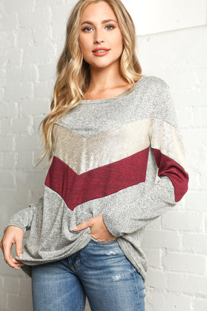 Plus Heather Grey & Wine Silver Foil Chevron Blouse