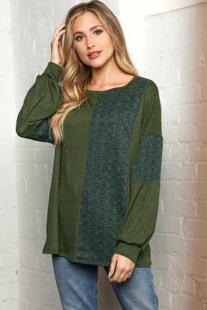 Hunter Green Two Tone Hacci Brushed Jacquard Sweater