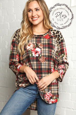Plus Plaid Animal Print & Floral Blouse