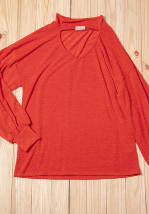 Burnt Orange Choker Sweater
