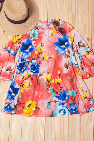 Coral Floral Key Hole Blouse