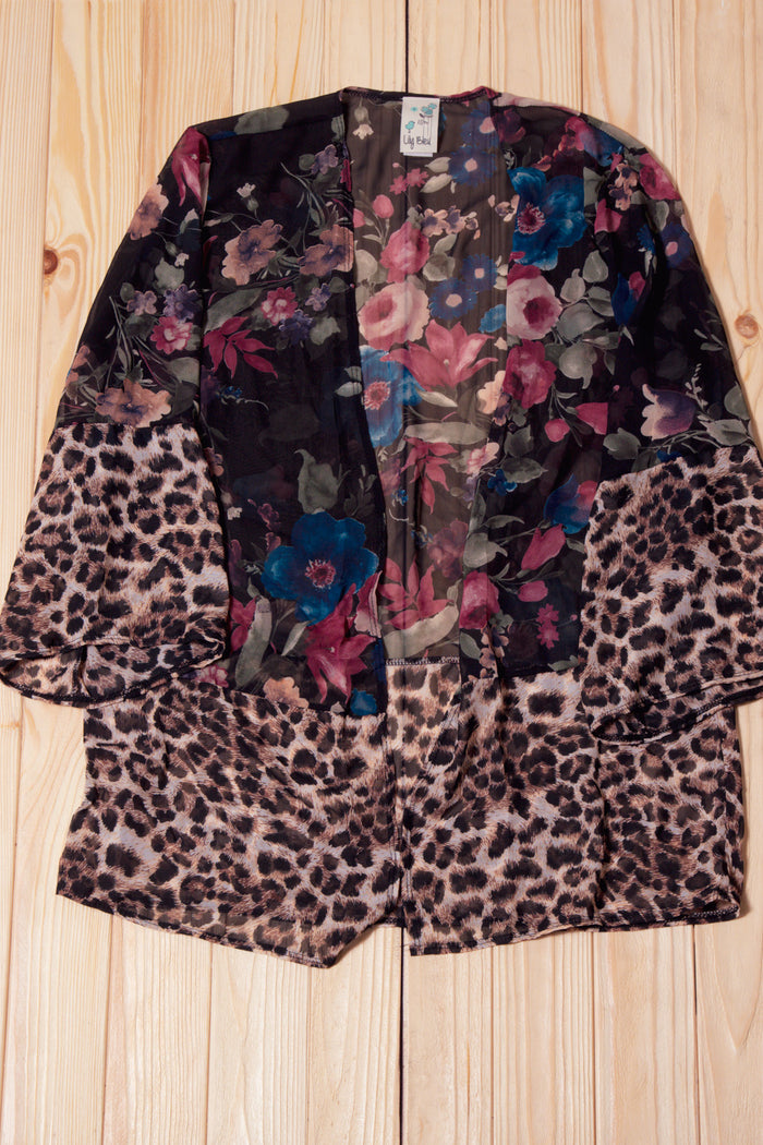 Black Floral Animal Print Cardigan