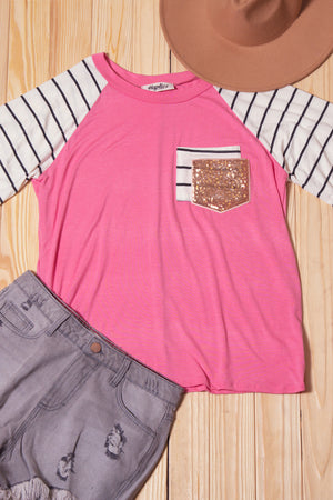 Coral Stripe Double Pocket Sequins Raglan Blouse