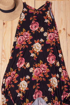 Black Floral Cross Back Hi Lo Maxi Dress