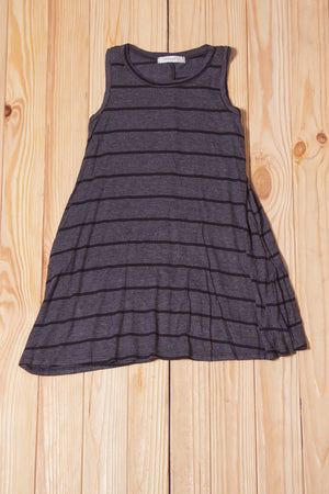 KIDS Charcoal Stripe Tunic Dress