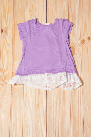 KIDS Purple Crochet Bow Back Top