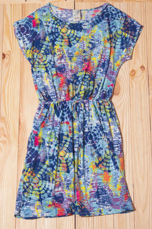 Tie Dye Synch Waist Pocketed Dress