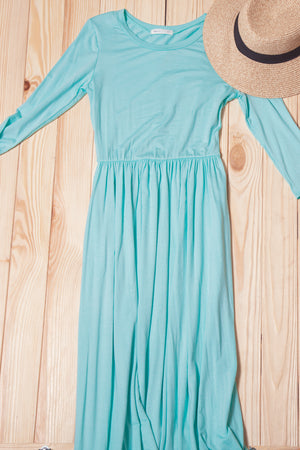 Mint 3/4 Sleeve Maxi Dress