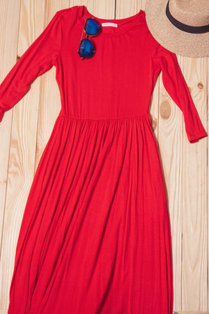 Dark Coral 3/4 Sleeve Maxi Dress