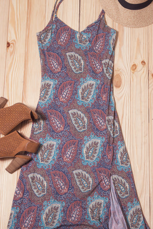 Paisley Pocketed Cross Back Maxi Dress