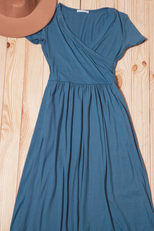 Off Blue Wrap Maxi Dress