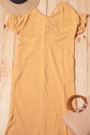 Off Mustard Pocketed Twist Back Dress
