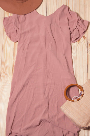 Mauve Pocketed Twist Back Dress