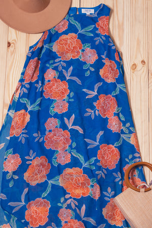 Royal Floral Lined Maxi Dress