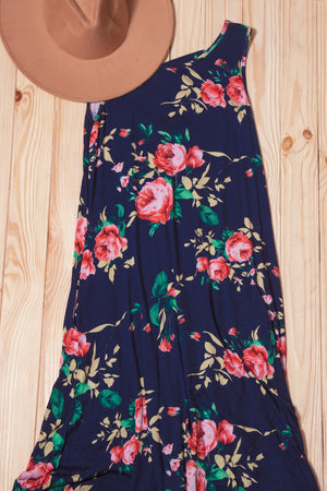 Navy Floral Hi Lo Maxi Dress