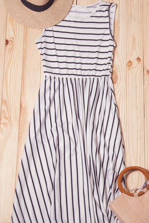 Ivory Stripe Maxi Dress