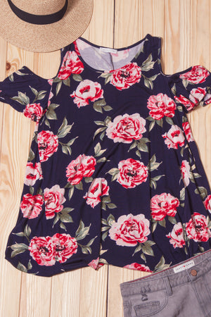Navy Floral Cold Shoulder Blouse