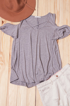 Grey Panel Cold Shoulder Blouse