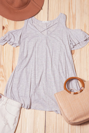 Light Grey Panel Cold Shoulder Blouse