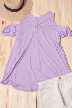 Lilac Panel Cold Shoulder Blouse