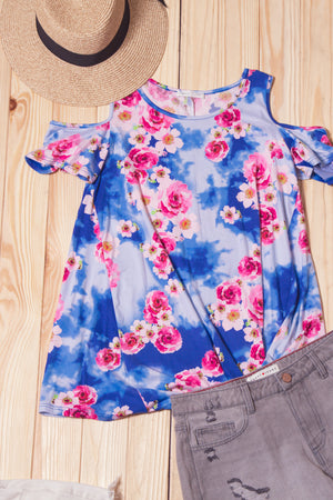 Tie Dye Floral Cold Shoulder Blouse