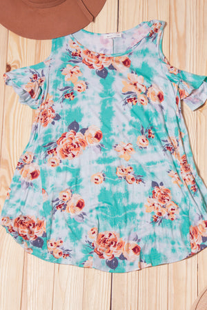Blue Tie Dye Floral Cold Shoulder Blouse
