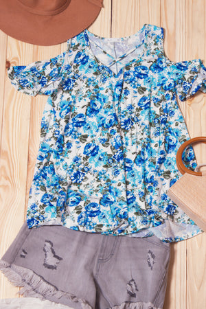 Blue Floral Panel Shoulder Blouse