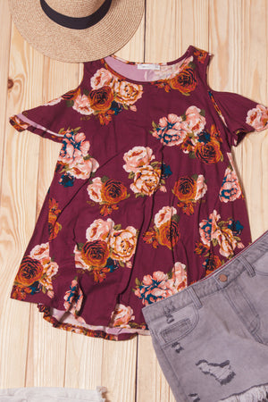 Burgundy Floral Cold Shoulder Blouse