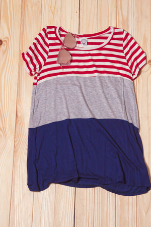 Stripe Color Block Blouse